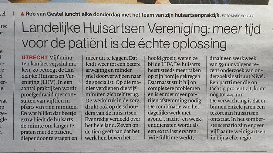 Meer tijd voor de patient is de echte oplossing